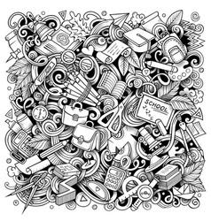 Cartoon doodles school vector