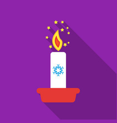 Christmas candle with snowflake icon in flat style vector