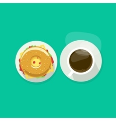 Coffee cup with donut sandwich top view vector
