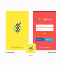 Company dart game splash screen and login page vector