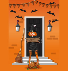 Cute witch near the house decorated to halloween vector