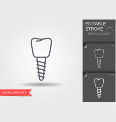 Dental implant line icon with editable stroke vector
