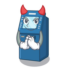 devil atm machine next to character table vector image