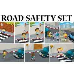 Different scenes with road safety vector