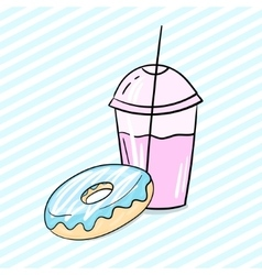Donut and milkshake vector image