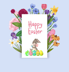 easter card with spring flowers and cute baby bunn vector image