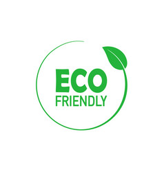 eco friendly green circle badge with tree leaf vector image