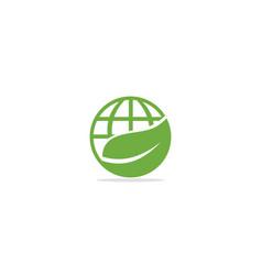 eco green leaf globe earth logo vector image