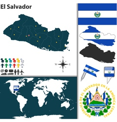 El Salvador map world vector image
