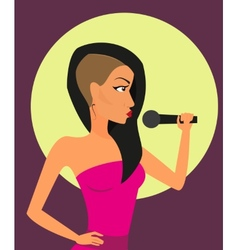 Female rock singer with microphone vector