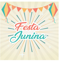 festa junina flag fireworks gray background vector image
