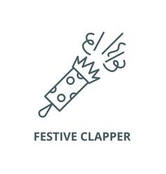 festive clapper line icon linear concept vector image
