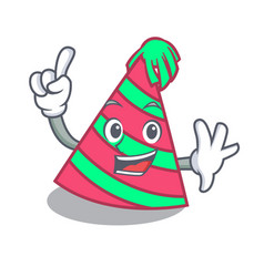 Finger party hat mascot cartoon vector