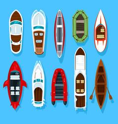 fisherman boats and wooden sailboat with paddles vector image