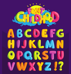 font in cartoon style childhood vector image
