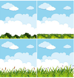 Four background scenes with blue sky and green vector