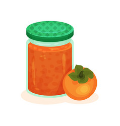 Glass jar tasty jam and whole persimmon vector