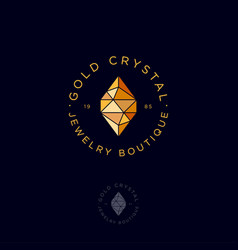 Golden crystal logo jewelry and bijouterie emblem vector