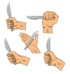 hand draw knife in hand kitchen tools outline vector image