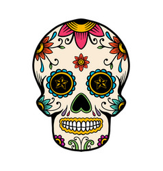 Hand drawn mexican sugar skull isolated on white vector