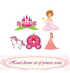 Hand drawn set of princess icons vector