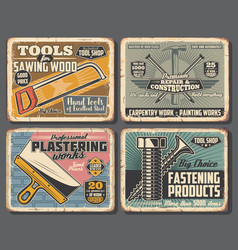 Hand tools house construction and repair vector