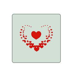 Heard around big heart in square vector