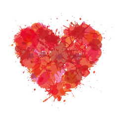 heart made with color stain love grunge vector image
