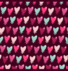 heart shaped balloons seamless pattern background vector image