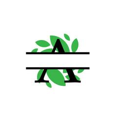Initial a green leaf monogram split letter vector