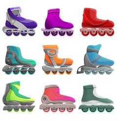 inline skates icons set cartoon style vector image
