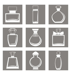 Isolated perfume bottles icons set vector