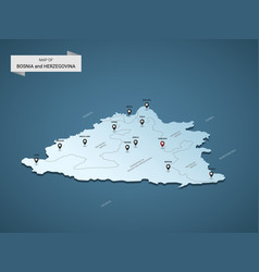 isometric 3d bosnia and herzegovina map concept vector image