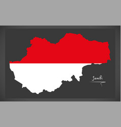 jambi indonesia map with indonesian national flag vector image vector image
