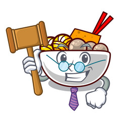 judge meatballs are served in cartoon bowl vector image