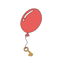 Key hanging on a flying red ball flat banner vector