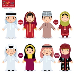 Kids in different traditional costumes bahrain vector