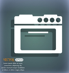 Kitchen stove icon On the blue-green abstract vector