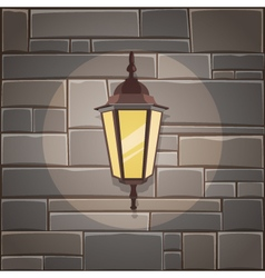 Lantern On The Stone Wall vector