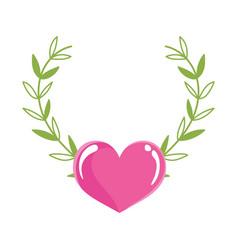 love heart leaves decoration romantic cartoon vector image