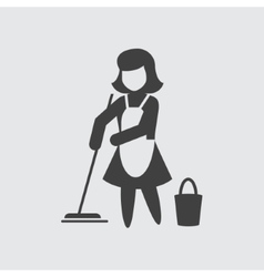 Maid cleaning icon vector image