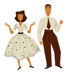 man and woman in vintage 1950s style clothes vector image