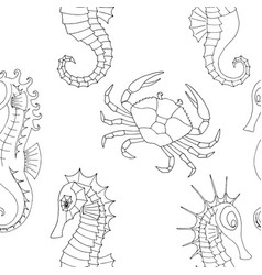 marine pattern with crab and seahorses vector image