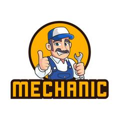 Mechanic mascot logo template vector