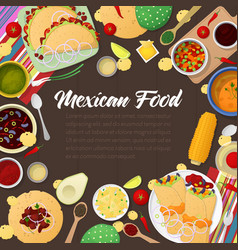 Mexican cuisine traditional food with tacos vector