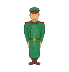 Military officer in greatcoat icon cartoon style vector