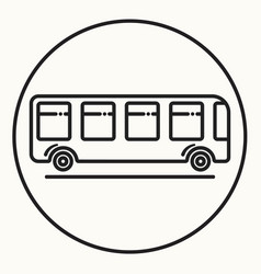 Minimal outline bus icon vector