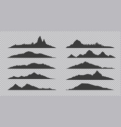 Mountain silhouette black outline rocks and hills vector