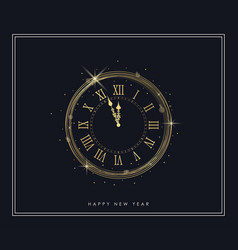 New year gold clock with shiny lights and golden vector