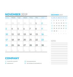 november 2019 week starts on sunday calendar vector image